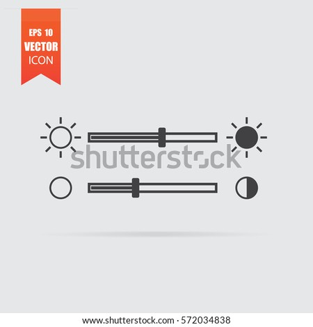 Brightness slider icon in flat style isolated on grey background. For your design, logo. Vector illustration.
