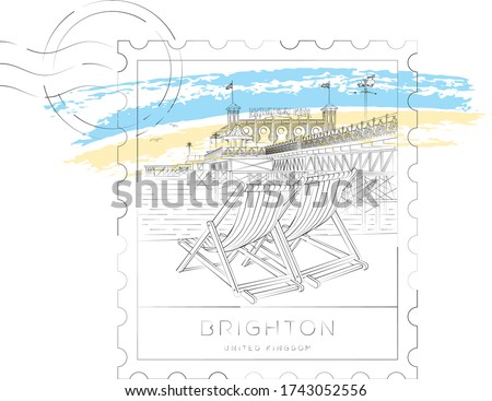 Brighton stamp, urban vector illustration and typography design, Sunbeds and Brighton pier, England, UK