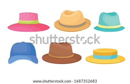 Brimmed Male and Female Hats and Caps with Ribbons Isolated on White Background Vector Set Zdjęcia stock ©