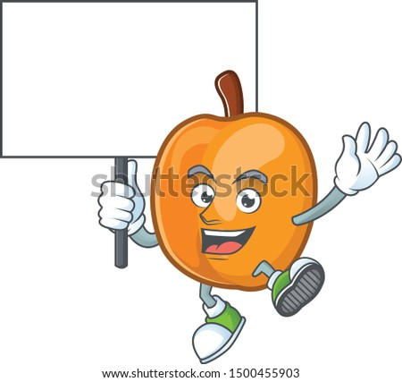 Bring board apricot cartoon character for nutritious maskot