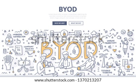 Bring your own device concept. BYOD. Employees using personal devices to access enterprise data and systems to carry out work. Doodle illustration for web banners, hero images, printed materials