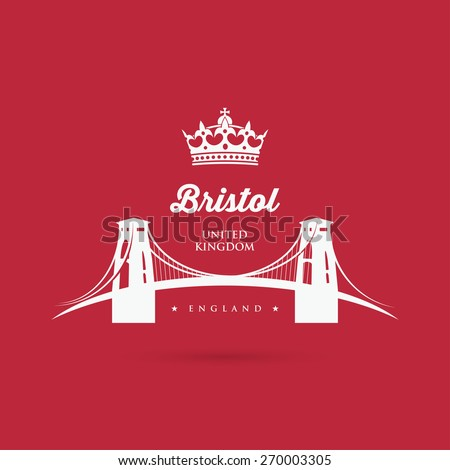 Bristol Clifton suspension bridge sign - vector illustration
