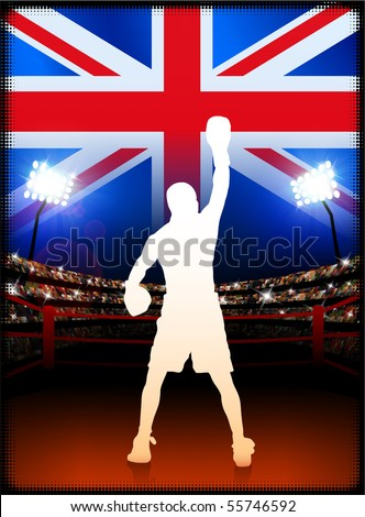 Britain Boxing Event with Stadium Background and Flag Original Illustration
