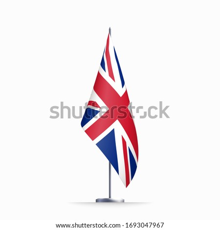 Britain flag state symbol isolated on background national banner. Greeting card National Independence Day United Kingdom of Great Britain and Northern Ireland. banner with realistic state flag of UK.