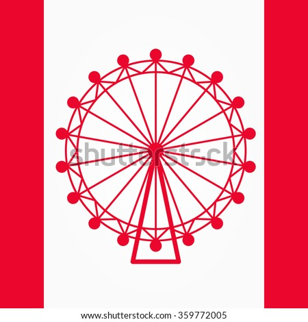 Britain, london eye isolated, Ferris wheel flat vector icon isolated. Leisure and fun park on white