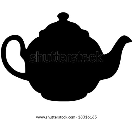 British English black teapot - isolated vector illustration