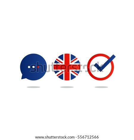 British english language class concept icon set and flag logo, language exchange program, forum and international communication sign. Flat design vector illustration