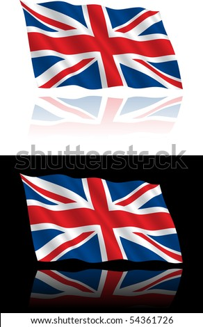 British Flag Flowing Stock Vector Illustration