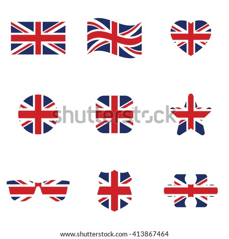 british flag icon set  vector