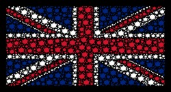 British Flag mosaic composed of bang elements on a dark background. Vector bang items are organized into conceptual Great Britain flag composition.