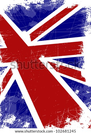 British flag with scratches
