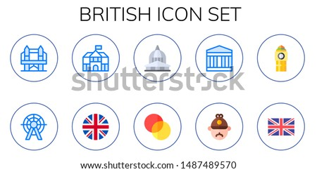british icon set 10 flat