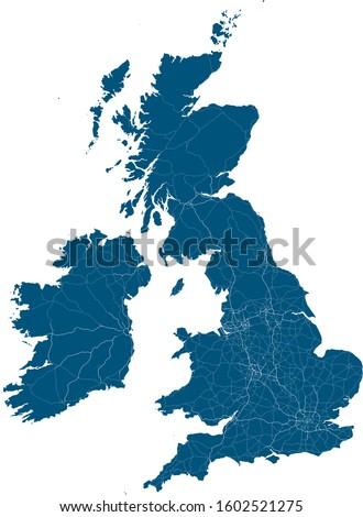 British Isles Major Road & Relief Map Vector Stock photo ©