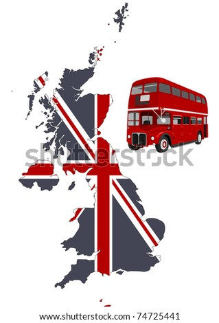 British map and double-decker
