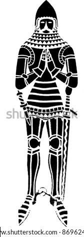 British medieval knight wearing an iron suit of armour - isolated vector illustration