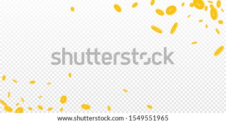 British pound coins falling. Scattered disorderly GBP coins on transparent background. Favorable wide corners vector illustration. Jackpot or success concept.