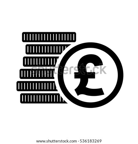 British Pound money coins sign. GBP currency symbol, vector illustration.