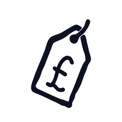 British pound money price tag doodle sale discount logo icon sign emblem Hand drawn pencil Cartoon design game economical style Fashion print clothes apparel greeting card banner online store banner