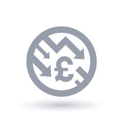 British Pound with arrows down concept icon. Great britain economic recession symbol. Financial market shares trade crash sign. Vector illustration.