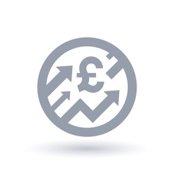 British Pound with arrows up concept icon. Great britain economic growth symbol. Financial market shares trade crash sign. Vector illustration.