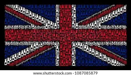 British State Flag collage organized of beer bottle design elements on a dark background. Vector beer bottle icons are organized into conceptual Great Britain flag pattern.