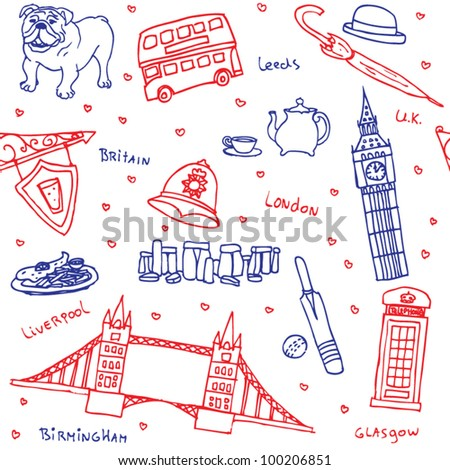 stock vector : British symbols and icons seamless pattern