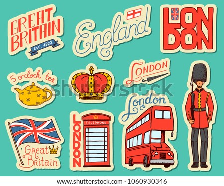 British vintage stickers, Crown and Queen, teapot with tea, bus and royal guard, London. Badges, stamps, emblems. United Kingdom. Country England label. 80s-90s Comic Style. Engraved hand drawn sketch #1060930346