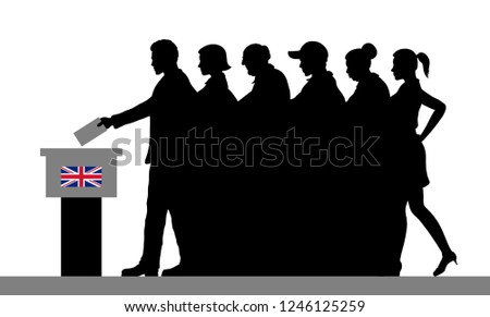 British voters crowd silhouette by voting for Brexit in United Kingdom.