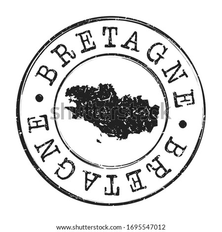 Brittany, France Map Postmark. A Silhouette Postal Passport. Stamp Round Vector Icon. Vintage Postage Designs. Foto stock ©