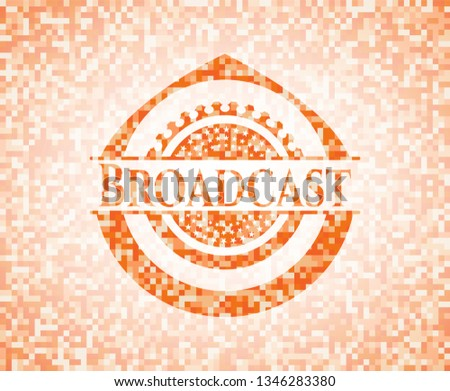 Broadcast abstract orange mosaic emblem