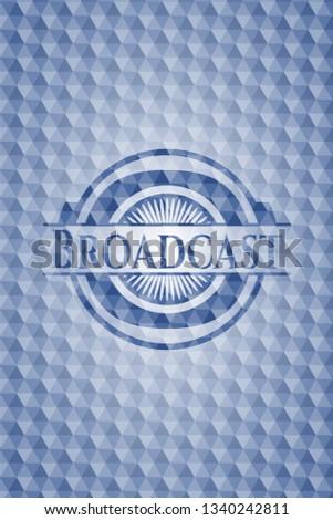 Broadcast blue polygonal badge.