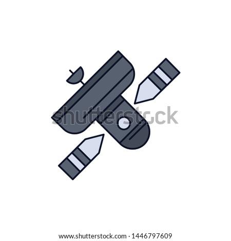 Broadcast, broadcasting, radio, satellite, transmitter Flat Color Icon Vector
