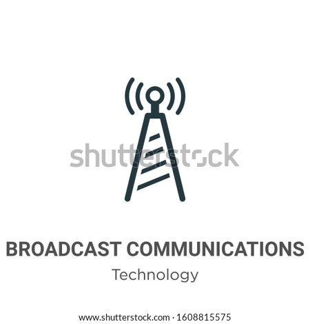 Broadcast communications tower glyph icon vector on white background. Flat vector broadcast communications tower icon symbol sign from modern technology collection for mobile concept and web apps