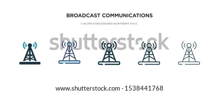 broadcast communications tower icon in different style vector illustration. two colored and black broadcast communications tower vector icons designed in filled, outline, line and stroke style can