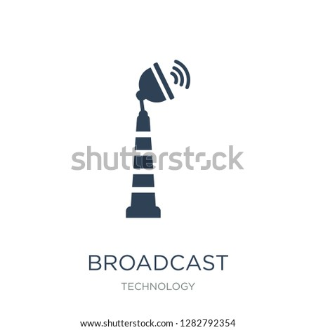 broadcast communications tower icon vector on white background, broadcast communications tower trendy filled icons from Technology collection, broadcast communications tower vector illustration