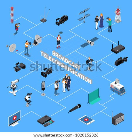 Broadcast equipment television team and signal repeaters telecommunication isometric flowchart on blue background 3d vector illustration