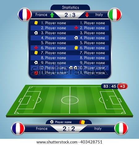 Football soccer game statistics
