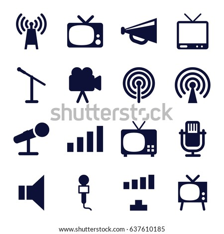 Broadcast icons set. set of 16 broadcast filled icons such as signal, megaphone, microphone, tv, camera