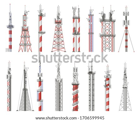 Broadcast technology tower. Communication antenna tower, wireless radio signal station. Cellular network tower vector illustration icons set. Radio signal tower, cellular broadcast cordless
