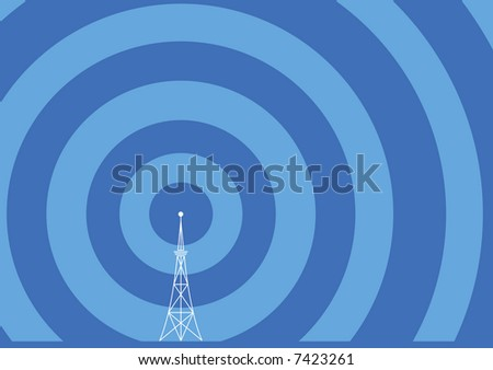 broadcast tower with transmission waves