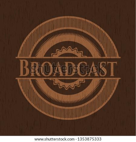 Broadcast wooden emblem. Retro