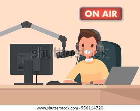 Broadcasting. Radio host behind a desk speaks into the microphone on the air. Vector illustration in  flat style