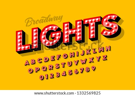 Broadway lights, retro style light bulb font, vintage alphabet, letters and numbers vector illustration