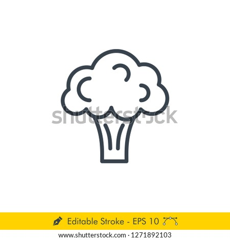 Broccoli Icon / Vector - In Line / Stroke Design