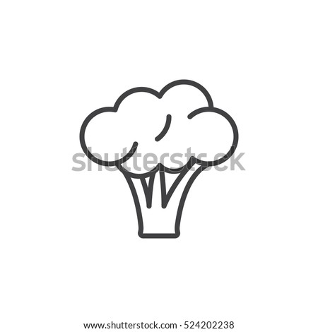 Broccoli line icon, outline vector sign, linear pictogram isolated on white. logo illustration