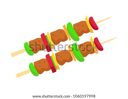 Brochette meat and vegetables, brochette with tomatoes and pepper meat, food cooked on grill, bbq meal vector illustration isolated on white background