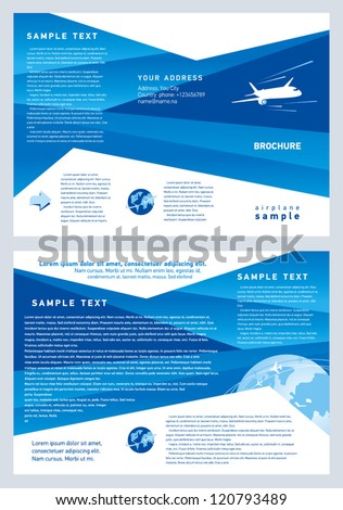 brochure airplane flight tickets air fly cloud sky blue white color travel background stock photo