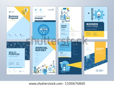 Brochure cover design and flyer layout templates set for education, school, online learning. Vector illustrations for marketing material, ads and magazine, annual report cover, business presentation.