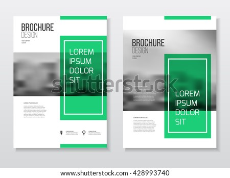 Brochure cover design layout with graphic elements and place for photo background, vector template in A4 size