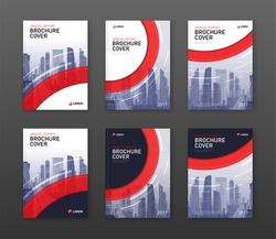 Brochure cover design templates set for construction or finance company with cityscape vector illustration on background. Good for annual report, magazine, catalog, flyer, leaflet, poster.